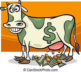 proverbe, dessin animé, espèces, illustration, vache