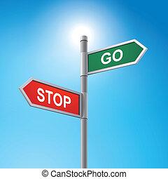 proverbe, stop, aller, route, 3d