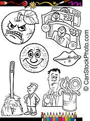 proverbes, ensemble, livre coloration, dessin animé