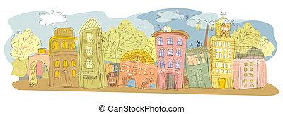 provincial, ville, dessin