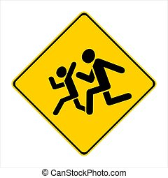 prudence, jaune, enfants, !, signe