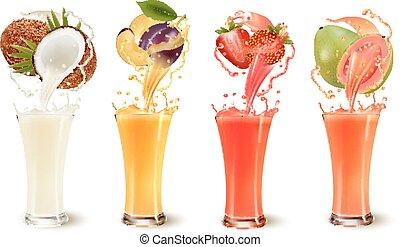 prune, ensemble, jus, éclaboussure, noix coco, fruit, fraise, guava., vecteur, verre.