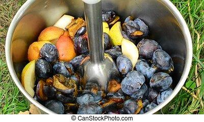prunes, couper, immersion, métallique, mixer, paires
