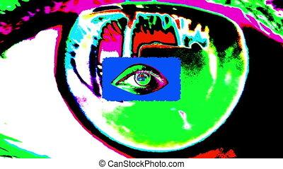 "psychédélique, ""animation, eyes"", tunnel, humain"