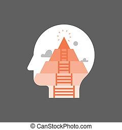psychanalyse, étape, mental, personnel, actualization, humain, besoins, croissance, pyramide, sself, concept, conscience moi, développement