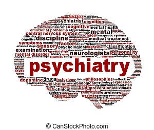 psychiatrie, monde médical, blanc, symbole, isolé