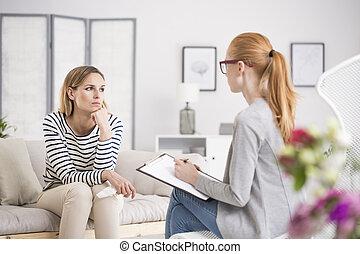 psychologue, pensif, séance, avoir, femme