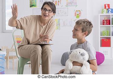 psychothérapeute, pendant, garçon, visite