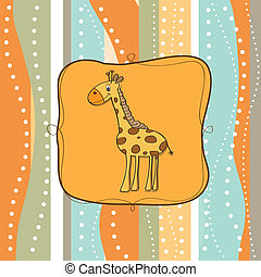 puéril, girafe, carte voeux