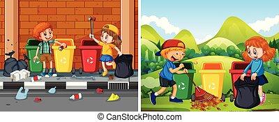 public, nettoyage, ensemble, enfants, secteur