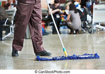 public, nettoyage, salle, plancher