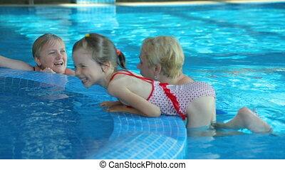 public, piscine, natation, gens
