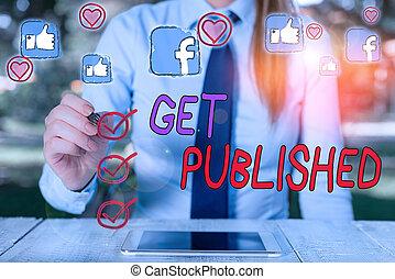 public, texte, published., littérature, faire, disponible, vue., concept, signification, obtenir, matériel, écriture