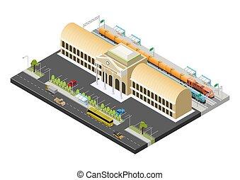 public, train, isométrique, vecteur, station, bâtiment