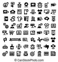 publicité, grand, icônes, ensemble