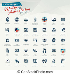 publicité, média, icône, ensemble