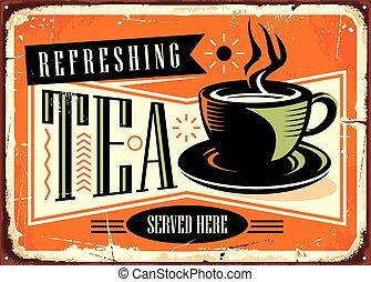 publicité, rafraîchissant, ici, servi, café, signe, vendange, thé