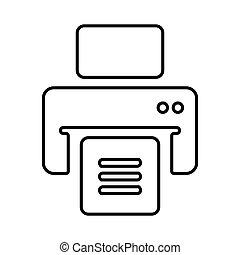 publier, ligne, imprimante, contour, dehors, impression, document, fichiers, icône, impression