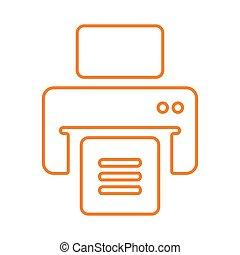 publier, ligne, imprimante, contour, dehors, impression, document, vecteur, fichiers, icône, impression