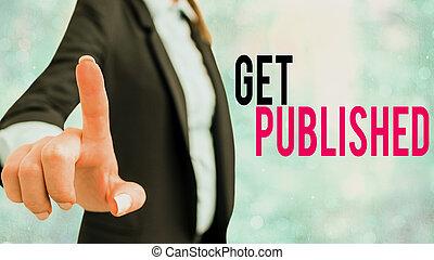 published., mot, matériel, business, écriture, texte, obtenir, concept, disponible, littérature, vue., public, faire