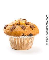 puce, chocolat, isolé, muffin, blanc