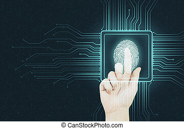 puce, humain, pousser, empreinte doigt, doigt, sécurité, concept, numérique, résumé, arrière-plan.