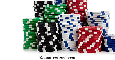 puces poker, fond blanc, assorti