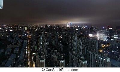 pudong, district, shanghai, nuit, sur, aérien, timelapse