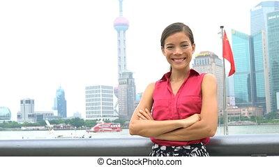 pudong, financier, portrait, projection, femme, district, shanghai, porcelaine, business