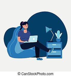 puf, femme, conception, ordinateur portable, vecteur