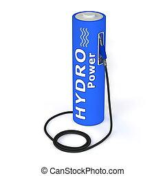 puissance, batterie, -, poste de carburant, hydro