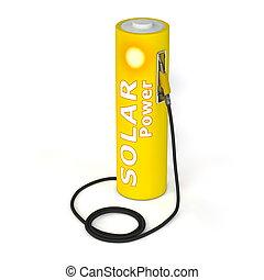puissance, batterie, -, poste de carburant, solaire