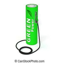 puissance, batterie, -, poste de carburant, vert