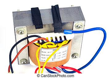 puissance, transformateurs, blanc, approvisionnement, électronique, arrière-plan.
