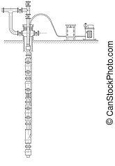 puits de pétrole, schématique