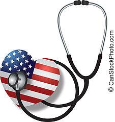 pulsation, drapeau, stéthoscope, écoute, usa