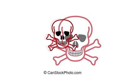 pulsing, symbole, crâne crâne