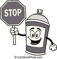 pulvérisation, arrêt, boîte, illustration, signe