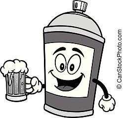 pulvérisation, bière, illustration, boîte