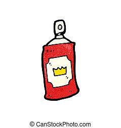 pulvérisation, dessin animé, boîte