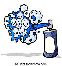 pulvérisation, graffiti, dessin animé, crâne, boîte