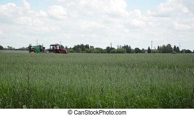 pulvérisation, herbicide, tracteur