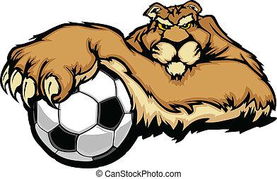 puma, vect, balle, mascotte, football