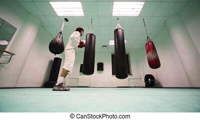 punchbag, poinçons, sauts, boxe, trois, part1, gymnase, gants, homme