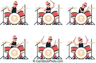 punk, bande, batteur, tambours, rocher, jouer
