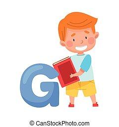 pupille, tenue, debout, illustration, abc, intelligent, grand livre, lettre alphabet, g, garçon, vecteur