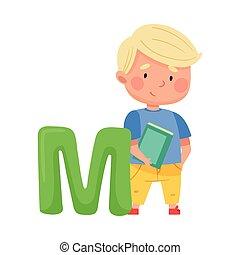pupille, tenue, debout, illustration, abc, intelligent, grand livre, lettre alphabet, m, garçon, vecteur