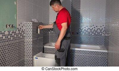 purger, homme, mécanisme, système, réparation, toilette, plombier