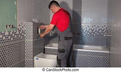purger, tuyau, mécanisme, eau toilette, ouvrier, embraser