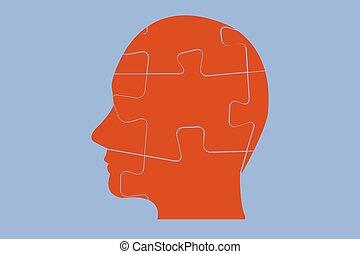 puzz, tête, man`s, côté, rouges, vue